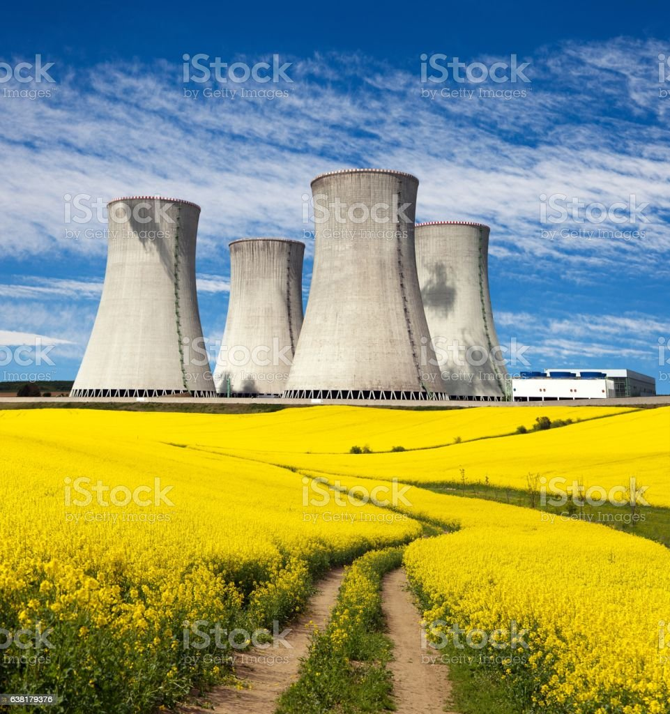 Nuclear power plant with golden flowering field of rapeseed stock photo