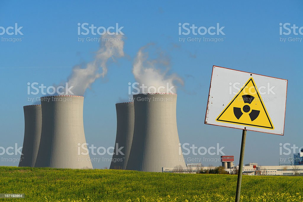 Nuclear Power Plant with Radioactivity Sign royalty-free stock photo