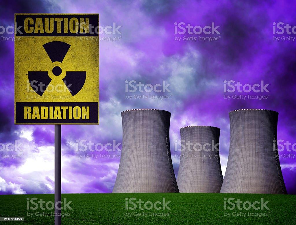 Nuclear power plant with radioactivity warning symbol stock photo