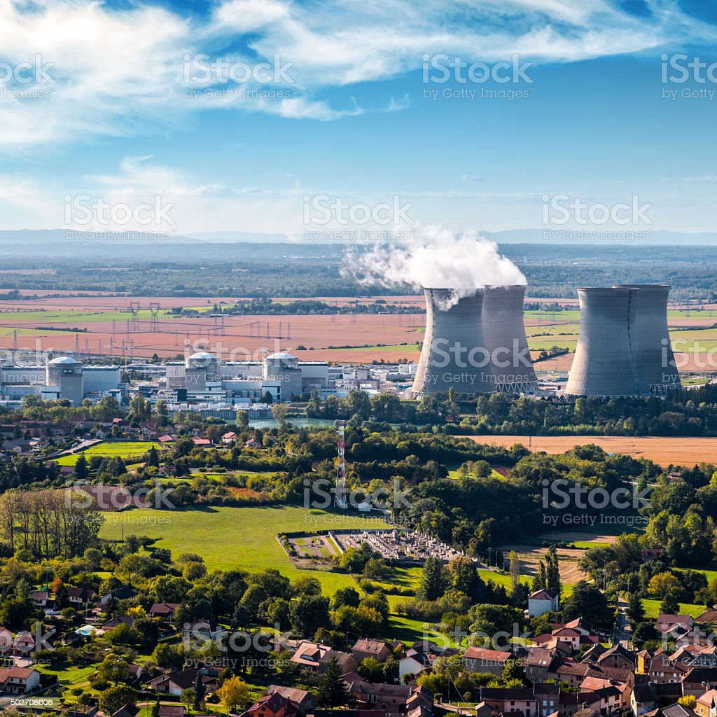 Nuclear power station aerial view in countryside landscape stock photo
