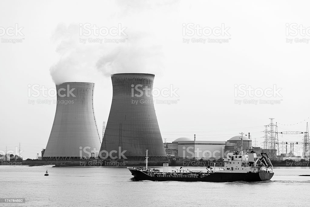 Nuclear Power Station And Ship royalty-free stock photo