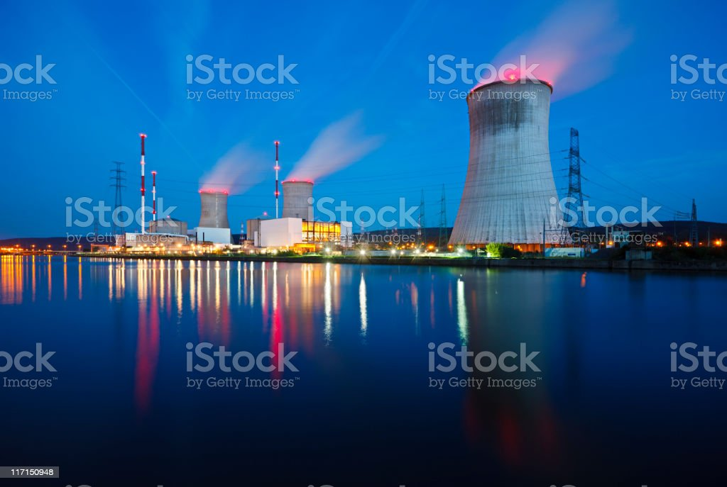 Nuclear Power Station At Night stock photo