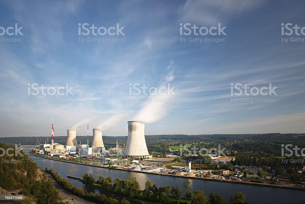 Nuclear Power Station At River Long Exposure stock photo
