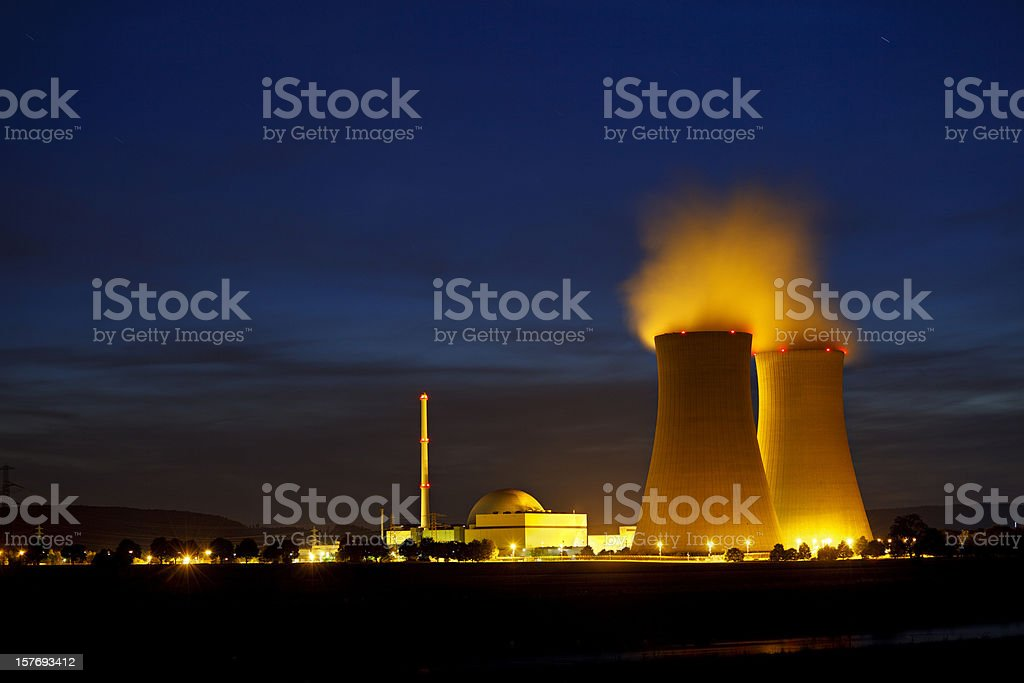 Nuclear Power Station At River royalty-free stock photo