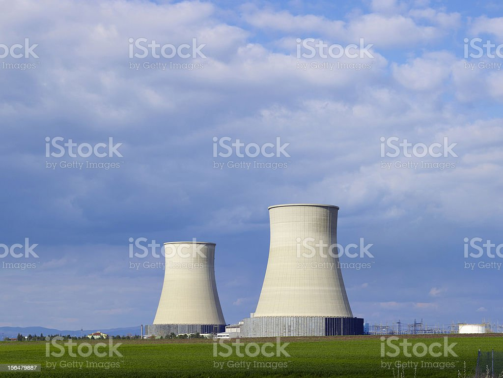 Nuclear power station, energetic industry generating electric energy royalty-free stock photo