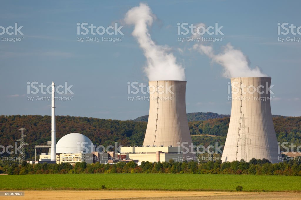 Nuclear Power Station In Green Landscape stock photo
