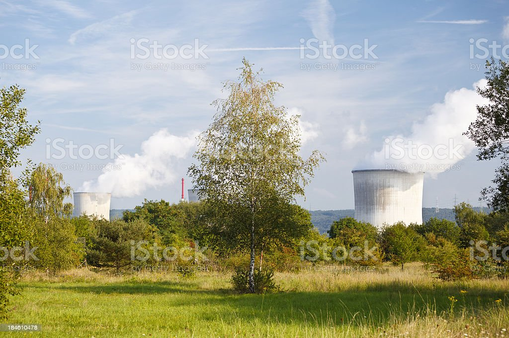 Nuclear Power Station Showing In Green Landscape stock photo