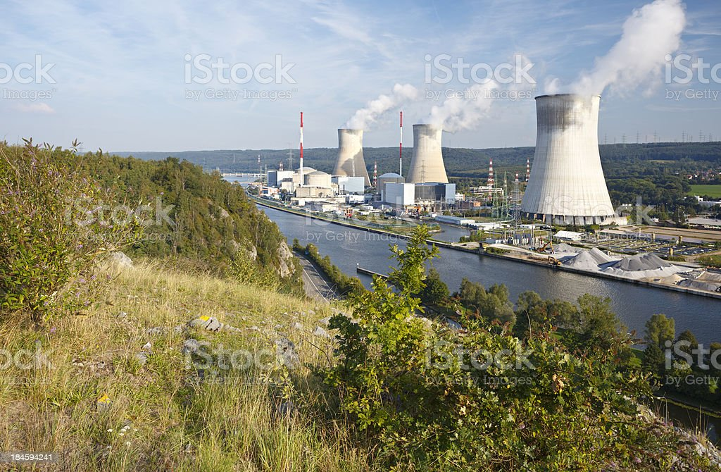 Nuclear Power Station With Green Foreground stock photo
