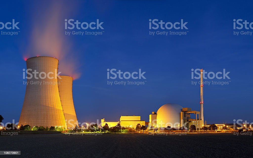 Nuclear Power Station With Night Blue Sky stock photo