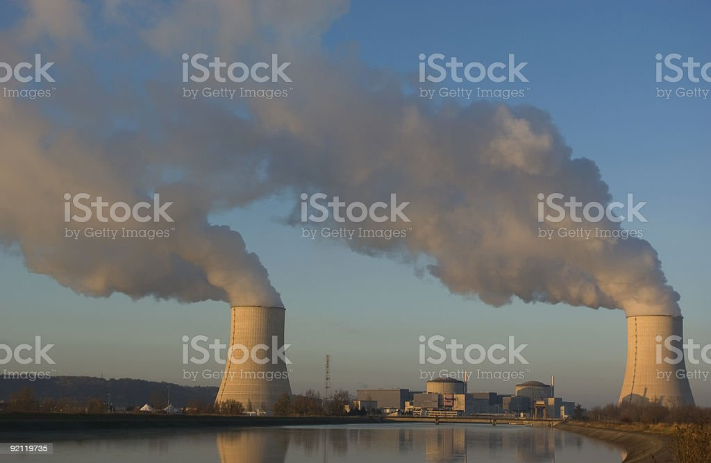 Nuclear power station with steam clouds royalty-free stock photo