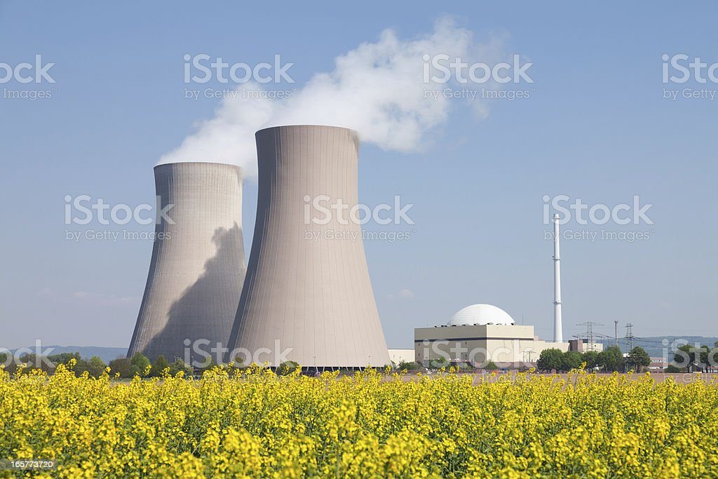 Nuclear power station with steaming cooling towers and canola field stock photo