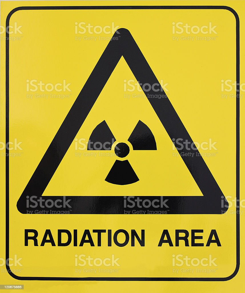 Nuclear radiation warning sign stock photo