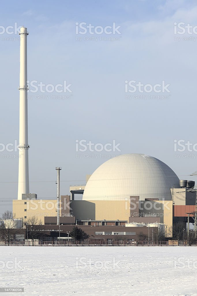 Nuclear reactor countryside in winter (XXXL) stock photo