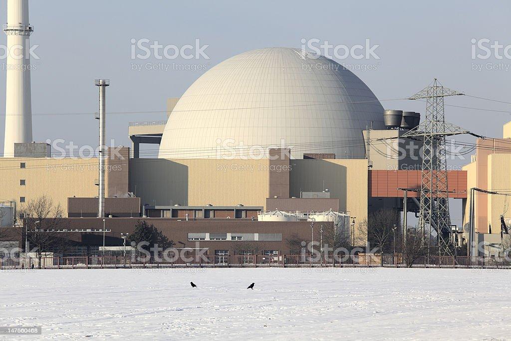 Nuclear reactor in winter (XXXL) stock photo
