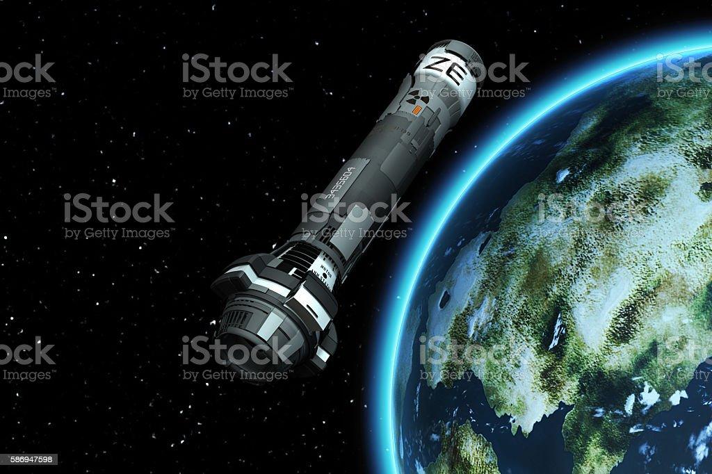 3D Nuclear Rocket Launch stock photo