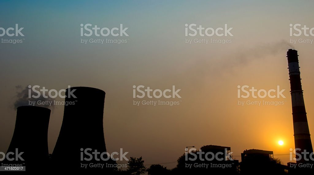 Nuclear Station at Sunset Landscape stock photo