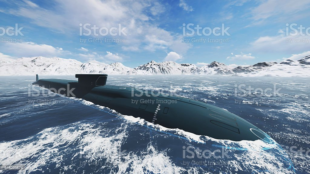 Nuclear submarine at northern waters stock photo