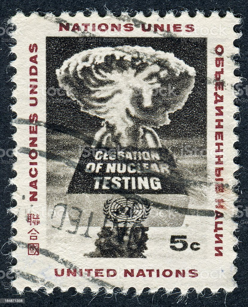 Nuclear Testing Stamp stock photo