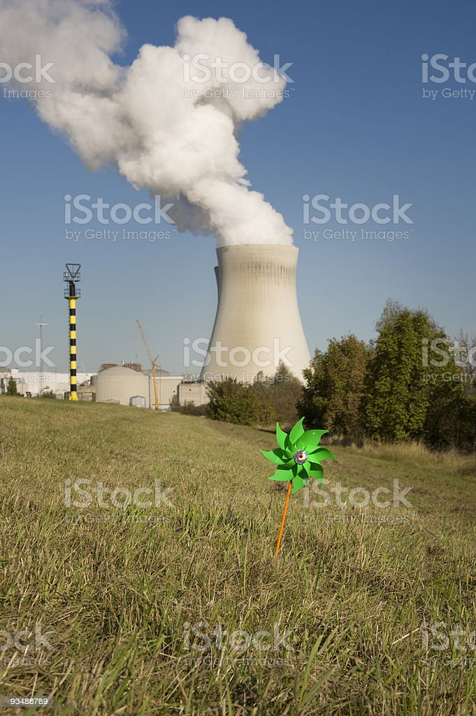 Nuclear versus wind energy stock photo