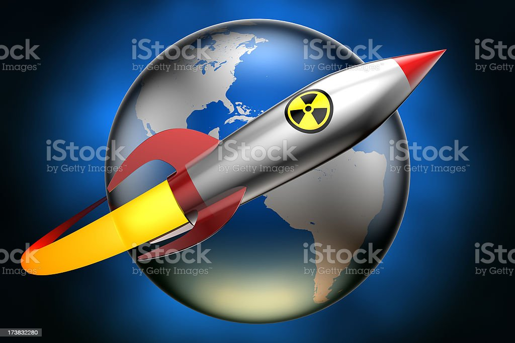 Nuclear warhead circling Earth (Clipping path included) stock photo