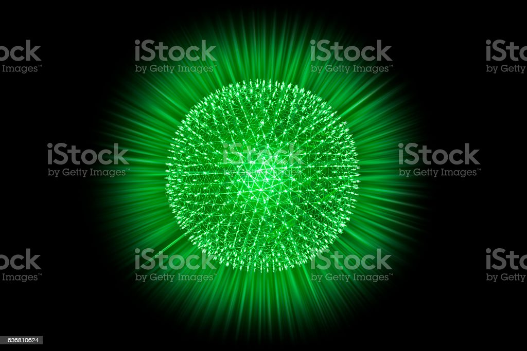 Nucleus Atom Nuclear explode bomb emit x-ray radiation concept stock photo