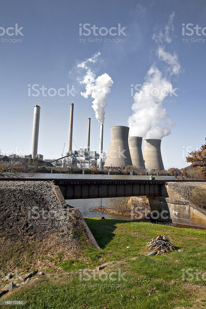 Nucular power plant and cooling towers royalty-free stock photo