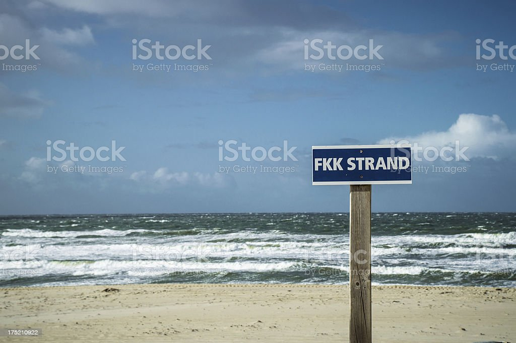 Nude beach sign stock photo
