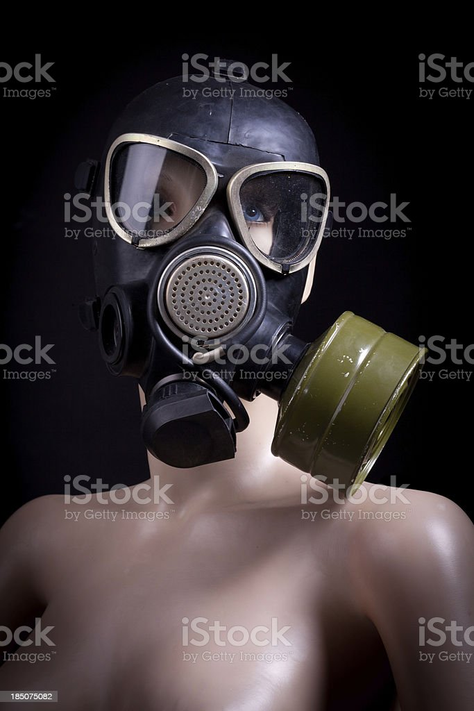 Nude dummy with gas mask royalty-free stock photo