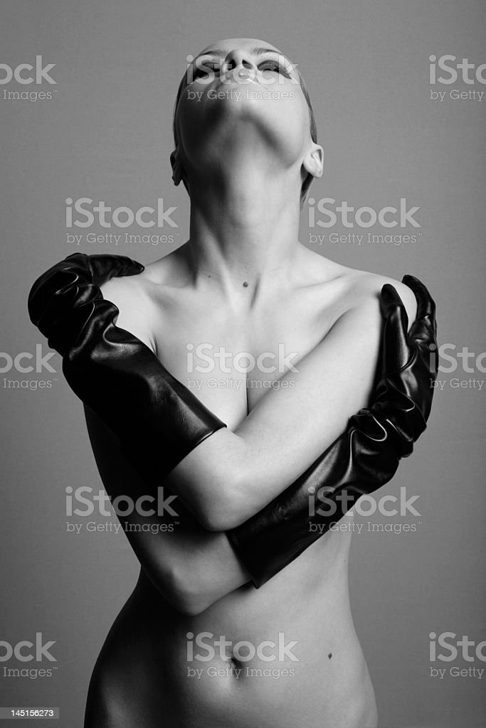 nude girl with the gloves royalty-free stock photo