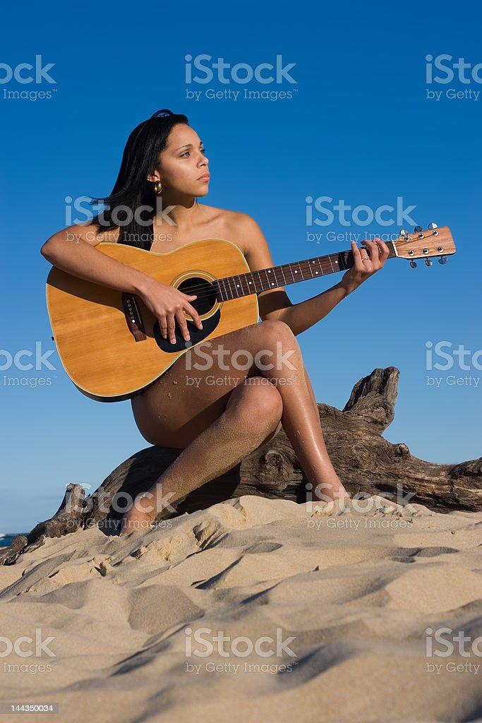 Nude Guitarist royalty-free stock photo