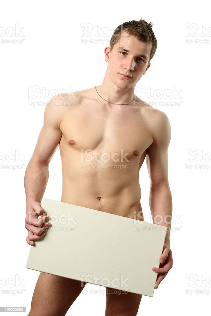 Nude Man with Copy Space Blank Billboard royalty-free stock photo
