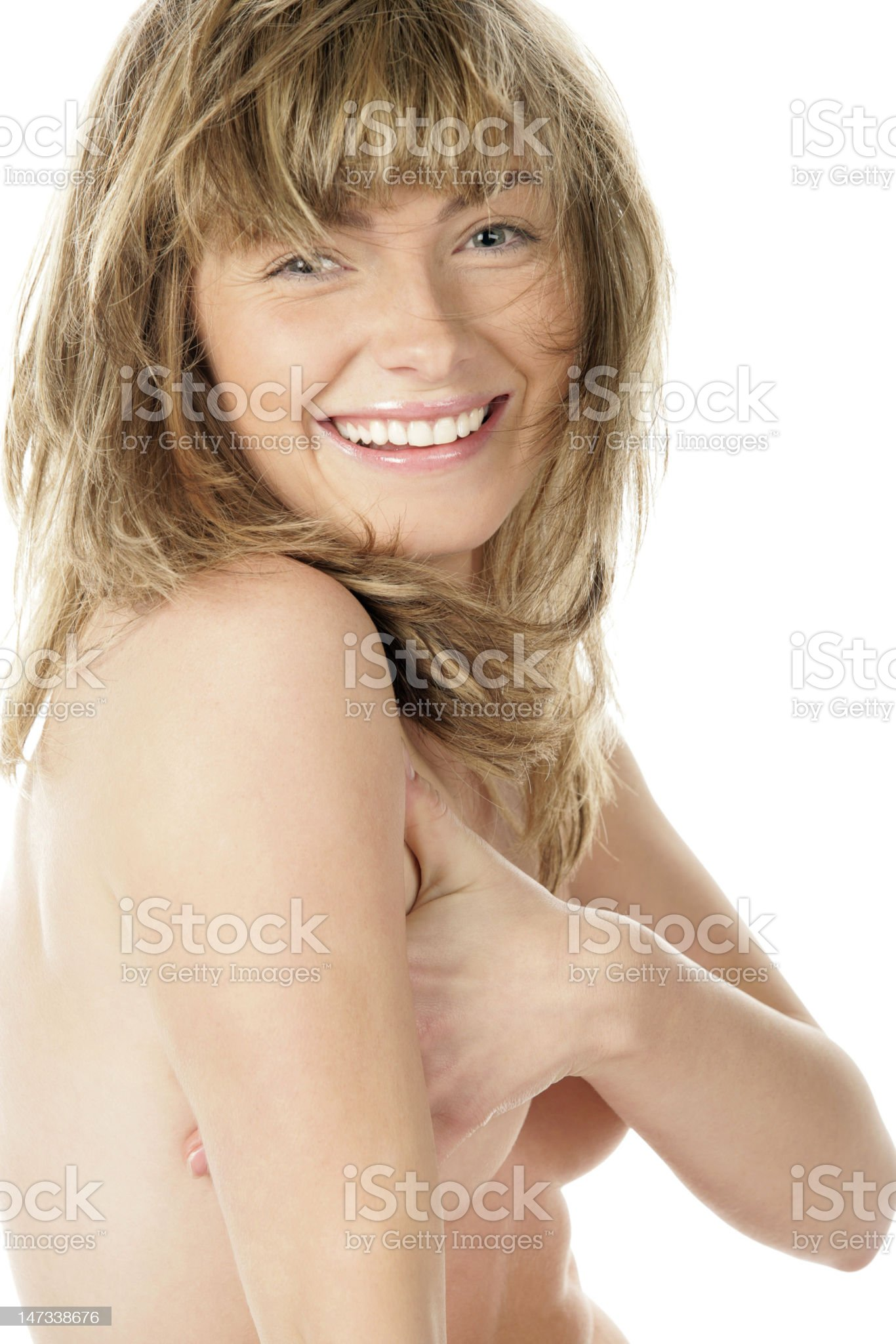 Nude woman covering breasts royalty-free stock photo