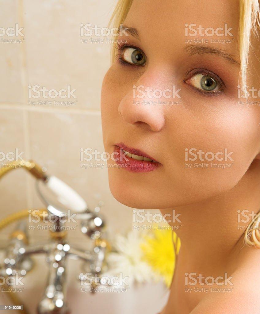 Nude woman in bath royalty-free stock photo