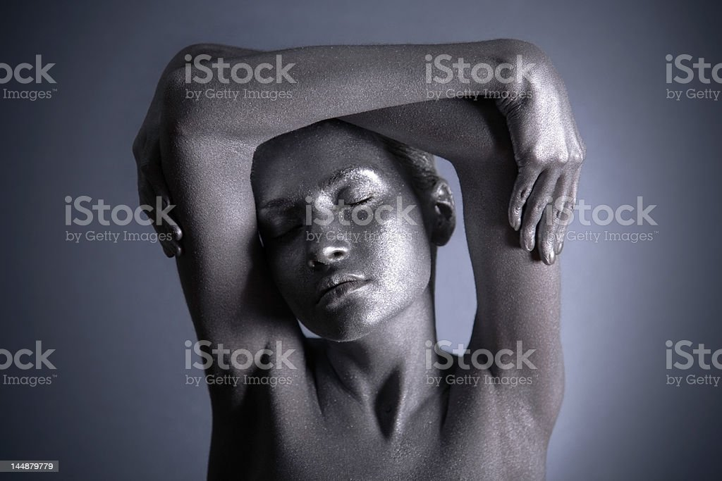 Nude woman with silver make-up royalty-free stock photo