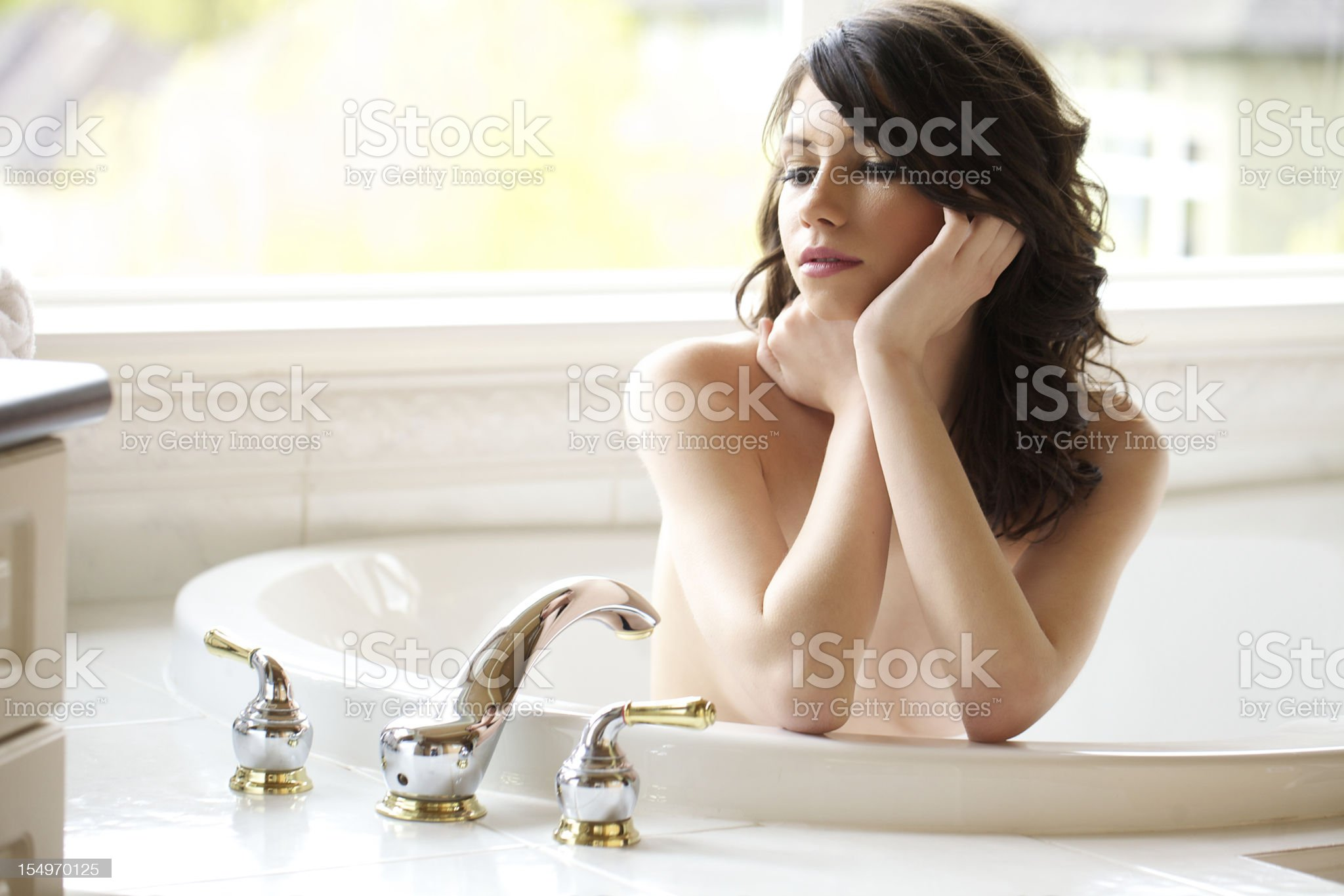 Nude Young Woman in tub royalty-free stock photo