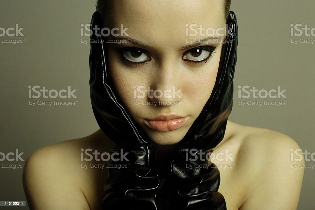 nudel girl with  gloves royalty-free stock photo