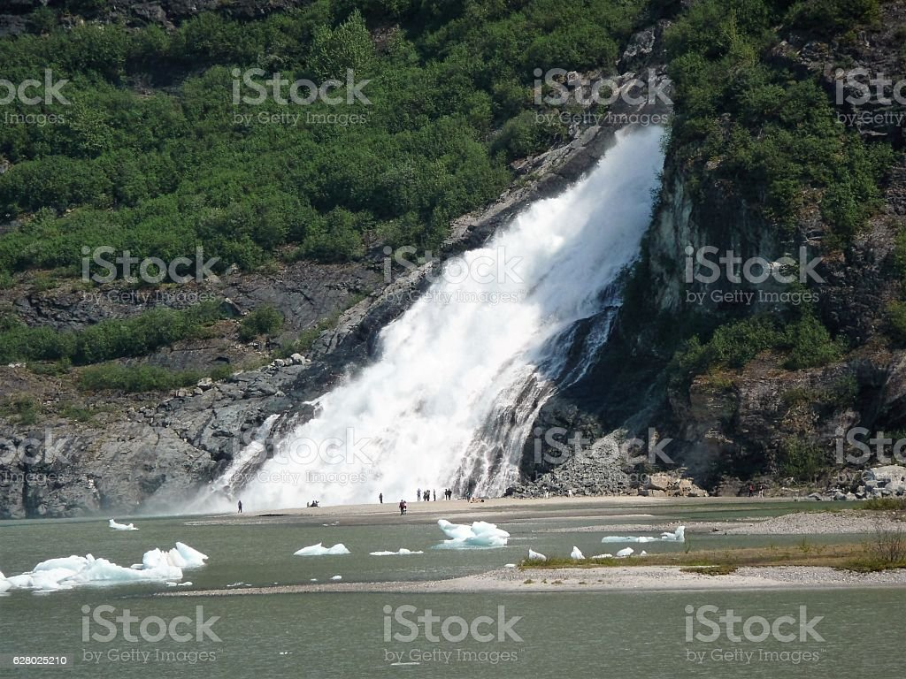 Nugget Falls at Mendenhall Glacier stock photo