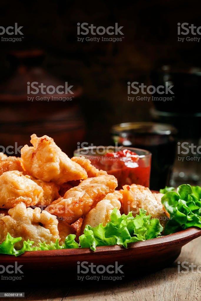 Nuggets, chicken tempura with green salad stock photo