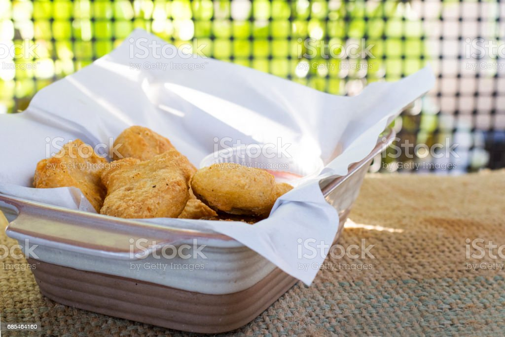 Nuggets fried with natural background stock photo