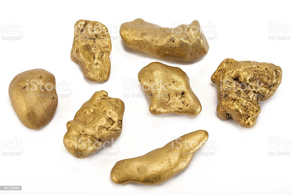Nuggets of gold stock photo