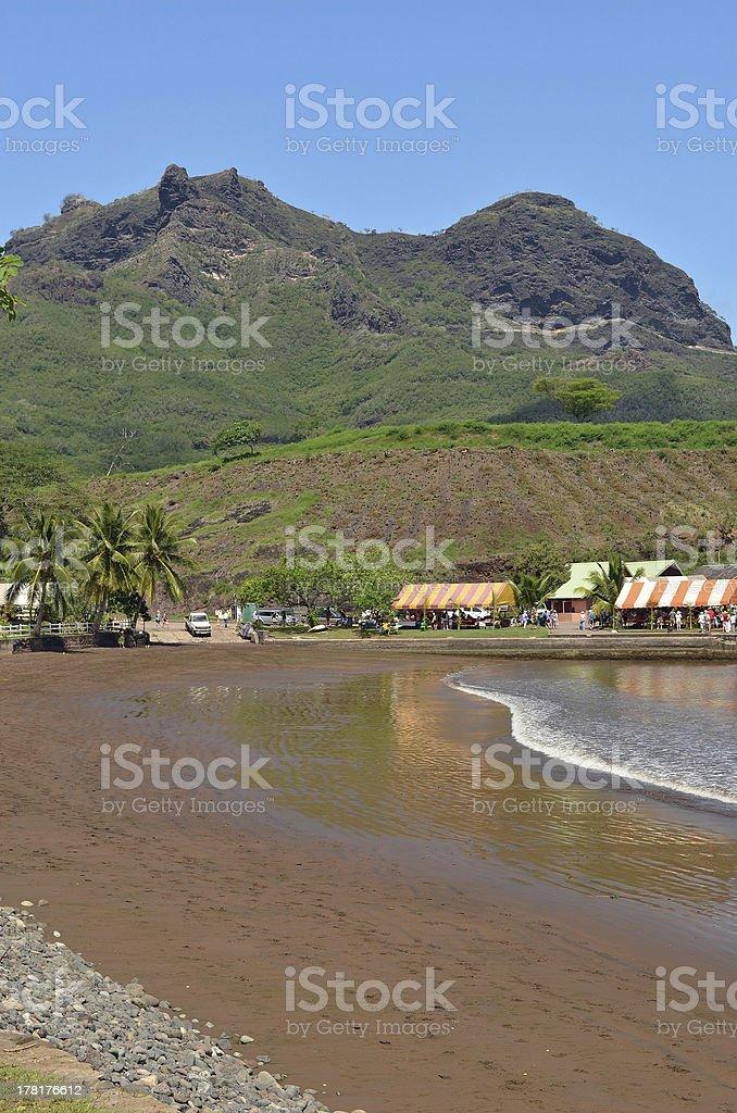 Nuku Hiva Brown Sand Beach stock photo