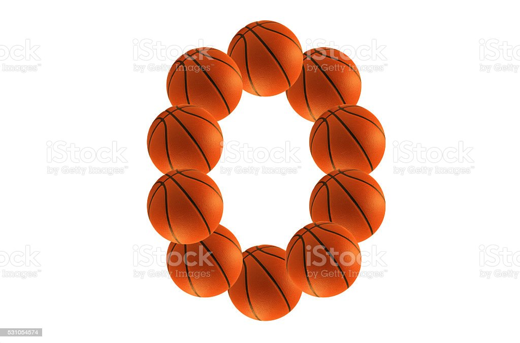 Number 0, alphabet from basketball balls stock photo