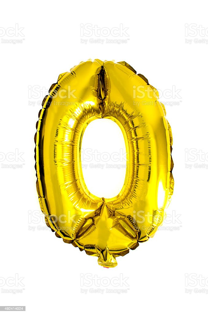 Number 0 written with golden helium foil ballons stock photo