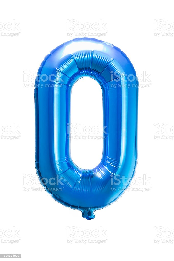 Number 0 zero blue helium balloon stock photo