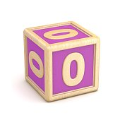 Number 0 ZERO wooden alphabet blocks font rotated. 3D