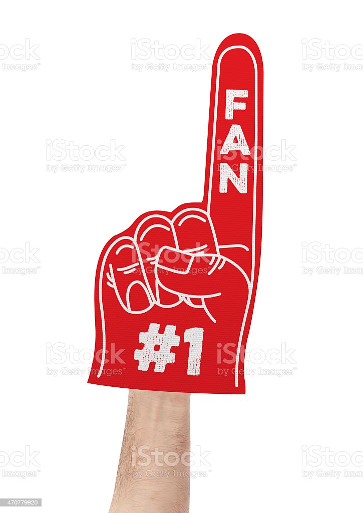 Number 1 fan foam hand stock photo