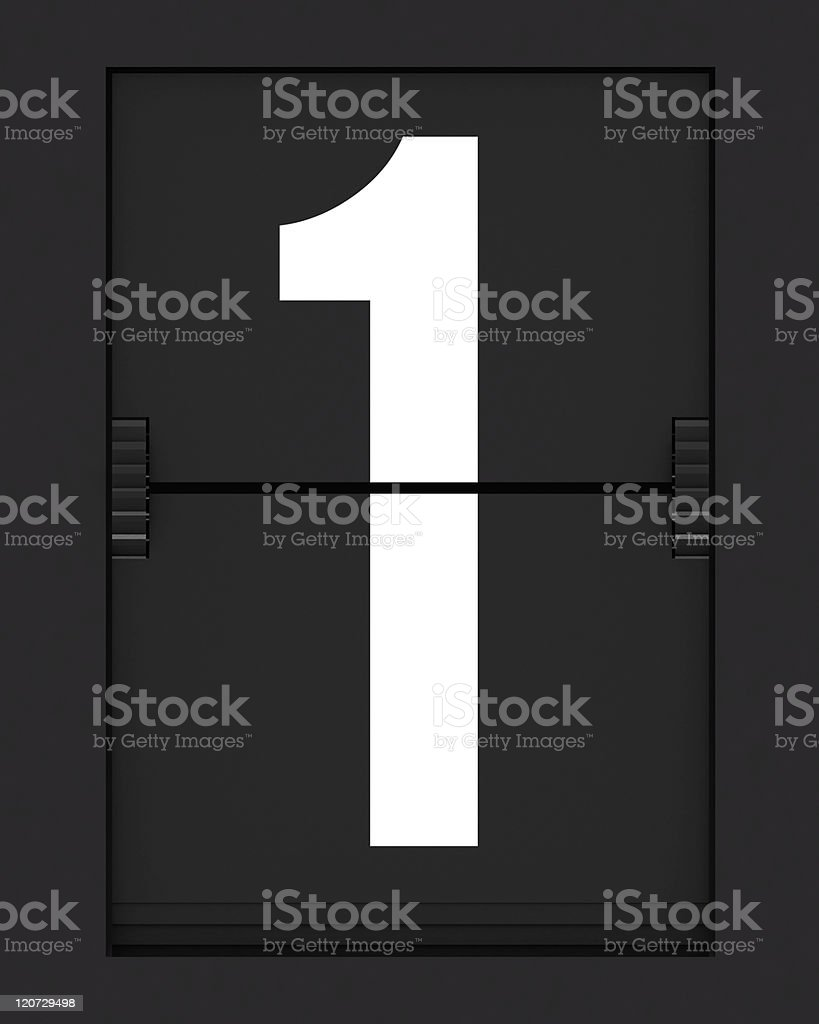 Number 1  from mechanical timetable board stock photo