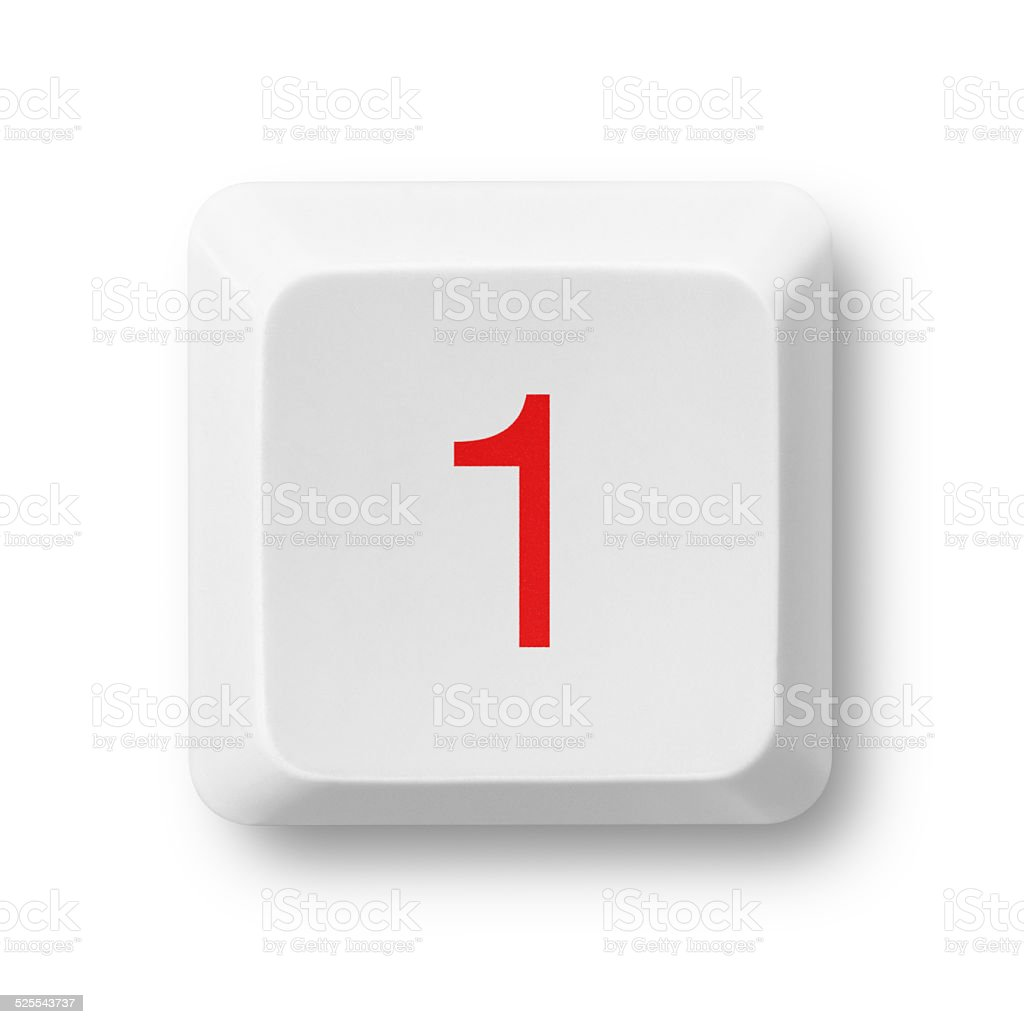 Number 1 on a computer key isolated on white stock photo