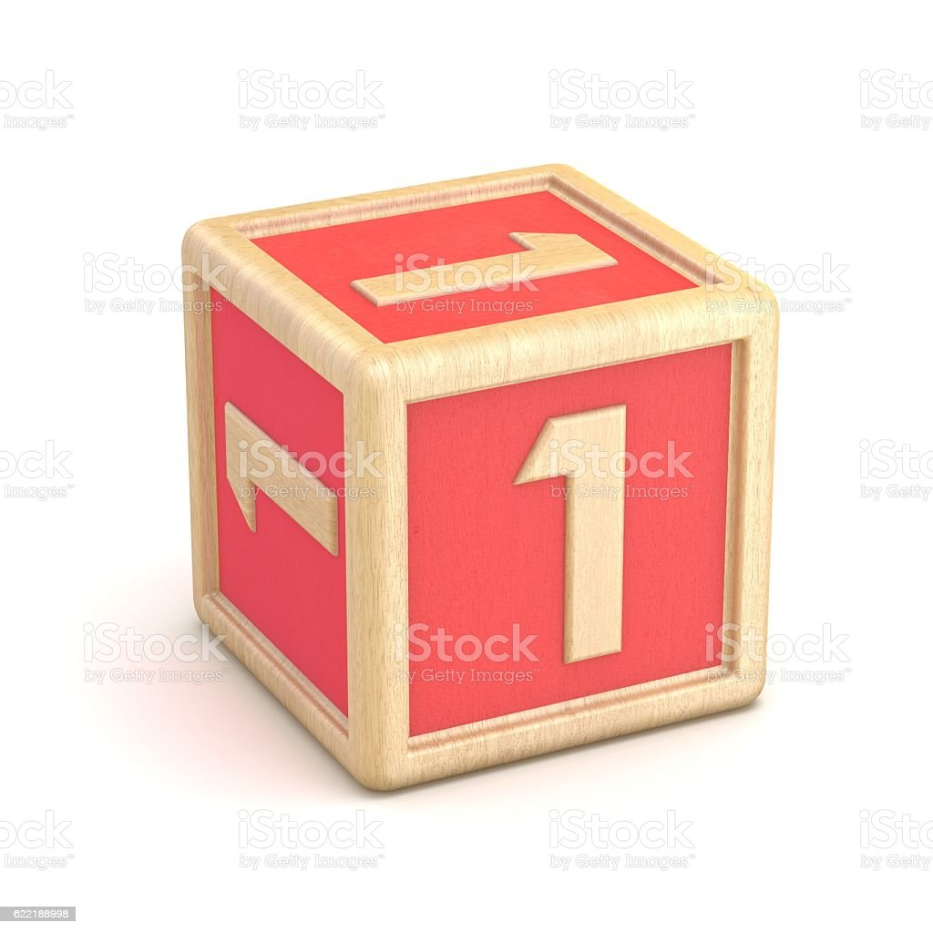 Number 1 ONE wooden alphabet blocks font rotated. 3D stock photo