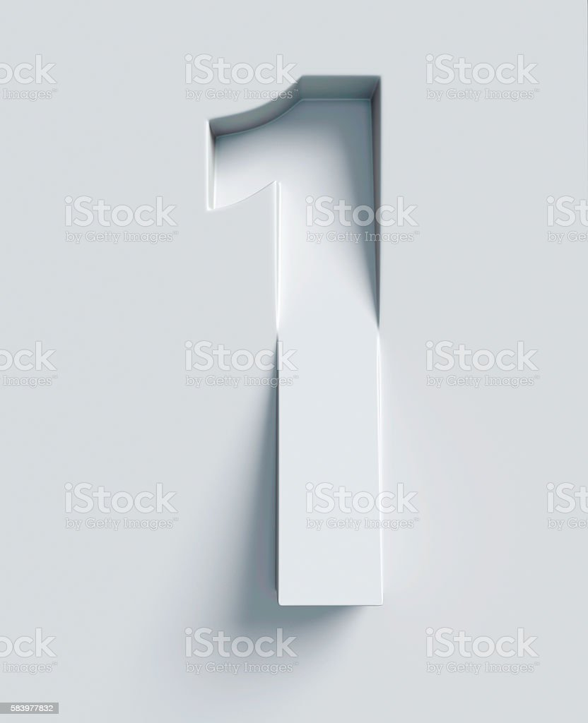 Number 1 slanted 3d font engraved and extruded from surface stock photo